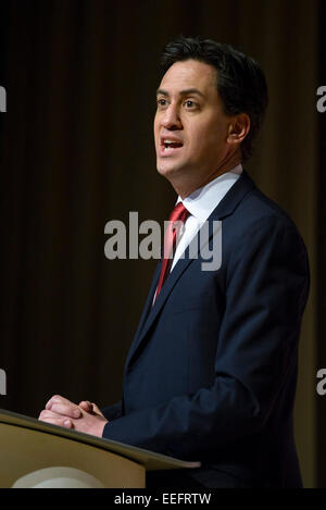 London, UK. 17th Jan, 2015. Ed Miliband MP (leader, Labour party) gives the keynote speech at the The Fabian Society - Stock Photo