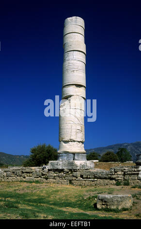 greece, northeastern aegean islands, samos, heraion, temple of hera, column - Stock Photo