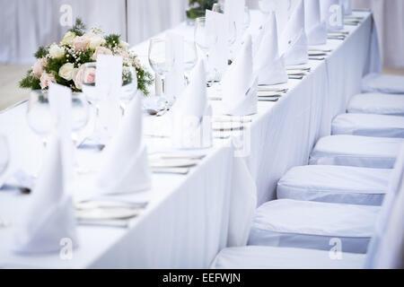 Wedding reception decoration and table setup - Stock Photo