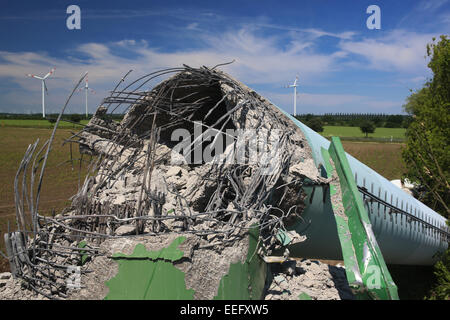 Langengrassau, Germany, demolition of an old wind turbine - Stock Photo