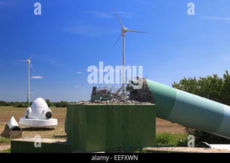 Langengrassau, Germany, demolition of an old wind turbine - Stock Photo