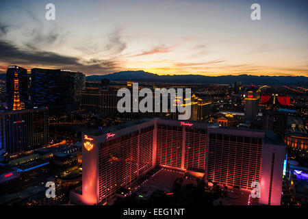Las Vegas Strip and the mountains at dusk from the High Roller - Stock Photo