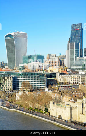 View from above looking down River Thames & Tower of London City of London skyline including Walkie Talkie & Leadenhall - Stock Photo
