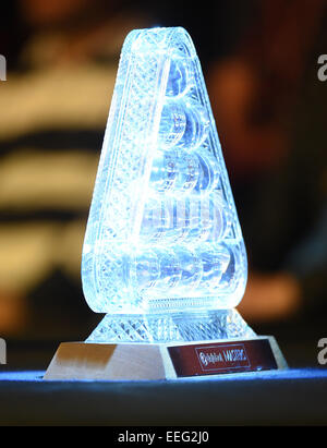 Alexandra Palace, London, UK. 17th Jan, 2015. Masters Snooker Semi Final. The masters trophy on display Credit: - Stock Photo