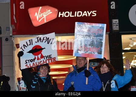 London, UK, 17th Jan, 2015 : Hundreds of noises protesters continue protest Against Taiji Dolphin Slaughter AND - Stock Photo
