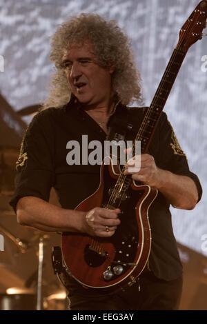 London, UK. 17th Jan, 2015. 17th Jan 2015: London, UK - Queen + Adam Lambert performing at the O2 Arena, London - Stock Photo