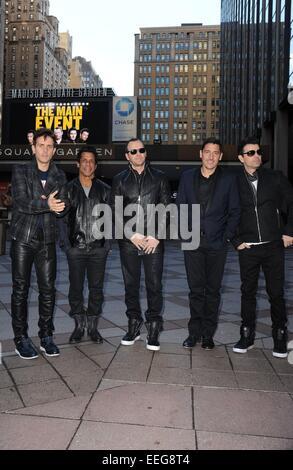 New York, NY, USA. 20th Jan, 2015. Joey McIntyre, Danny Wood, Donnie Wahlberg, Jonathan Knight, Jordan Knight, New - Stock Photo