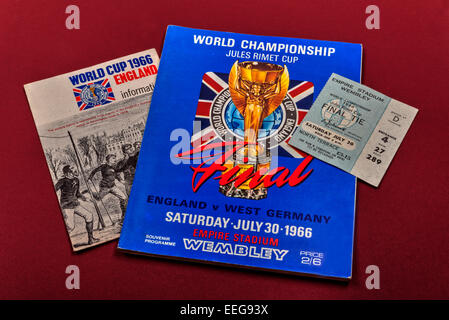 World Cup Final 1966, England v West Germany, program, ticket and pamphlet. - Stock Photo