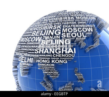 Earth with names of major cities in the world - Stock Photo