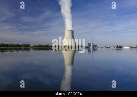 Atomkraftwerk Ohu bei Landshut, Bayern, Deutschland, Nuclear power plant Ohu near Landshut, Bavaria, Germany, Nuclear, - Stock Photo