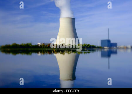 Atomkraftwerk Ohu bei Landshut, Bayern, Deutschland, Nuclear power plant Ohu near Landshut, Bavaria, Germany, Nuclear, - Stock Photo
