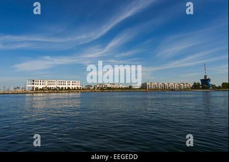 Rostock, Germany, overlooking the hotel marina Hohe Duene - Stock Photo