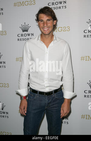 Rafael Nadal arrives for Crown's IMG@23 Tennis Players' Party, Melbourne, Australia,18th Jan, 2015. - Stock Photo