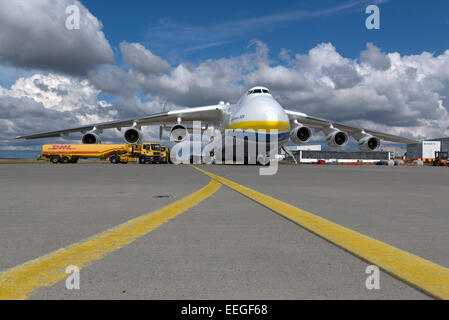 Schkeuditz, Germany, sechsstrahliges cargo aircraft Antonov An-225, ??Mrija,?? - Stock Photo