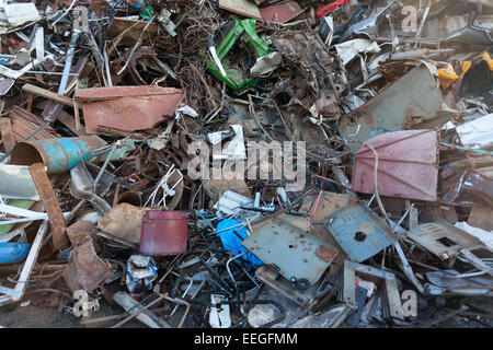 stack of scrap metal at recycling center. abstract background - Stock Photo