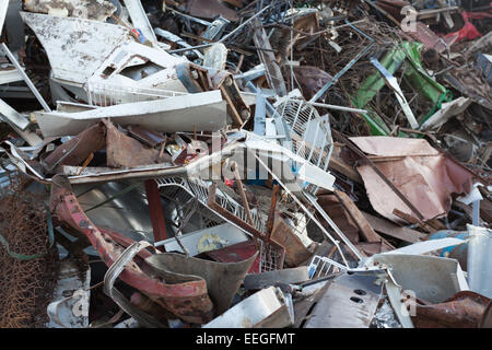 stack of scrap metal at recycling center - Stock Photo