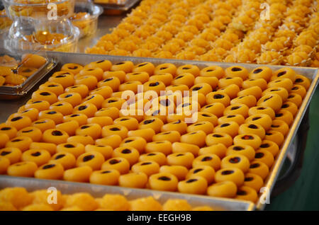 Nine auspicious Thai desserts name SA NEH JAAN - is made of rice flour, Coconut milk and egg yolk. It looks like - Stock Photo