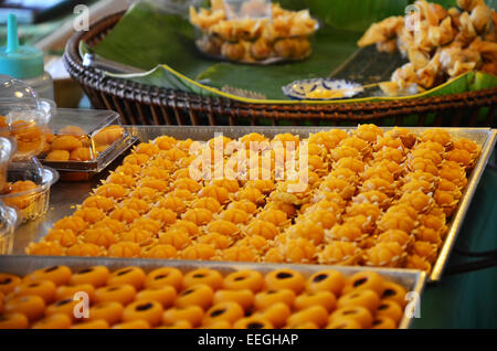 Nine auspicious Thai desserts name JAH MONGKUT - looks like a crown topped with a piece of gold leaf. The meaning - Stock Photo