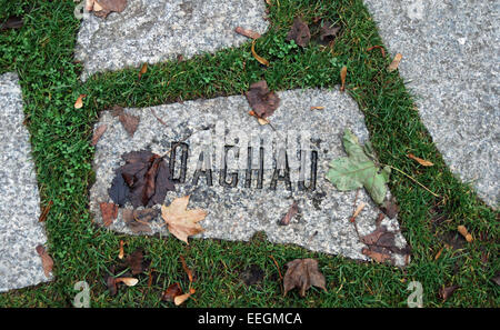 Memorial stone dedicated to Roma victims of the Holocaust who died in Dachau concentration camp. - Stock Photo