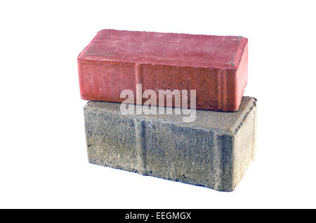 two gray and red decorative brick isolated on white background - Stock Photo