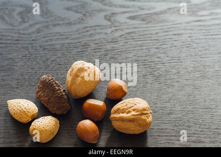 Mixed nuts in the shell - Stock Photo
