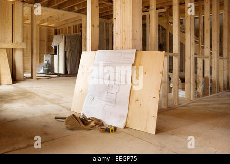 Interior house under construction - Stock Photo