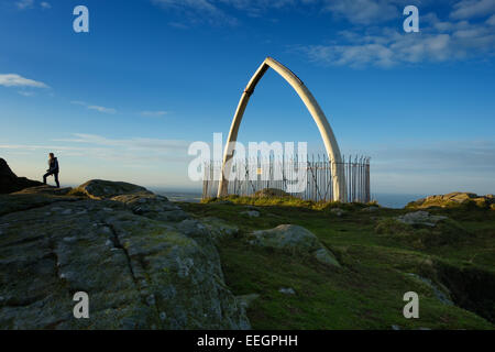 The whale jawbones on the top of North Berwick Law (hill), East Lothian, Scotland. - Stock Photo
