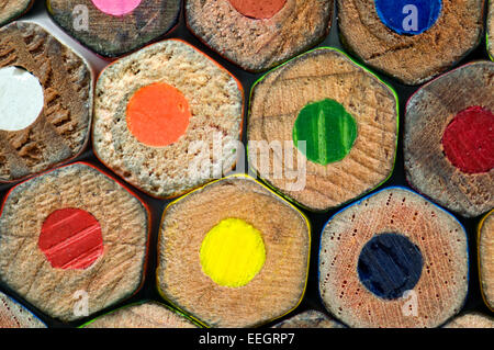 Colour pencil ends forming hexagon shaped pattern - Stock Photo