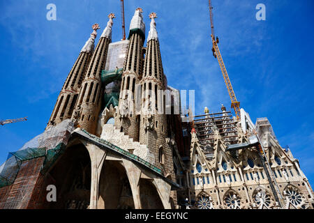 the passion facade of the Sagrada Familia Barcelona Catalonia Spain - Stock Photo