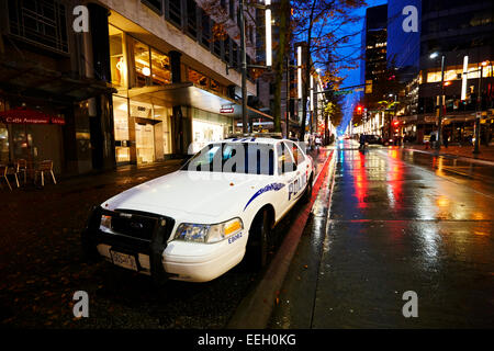 Vancouver police squad patrol car vehicle downtown BC Canada - Stock Photo