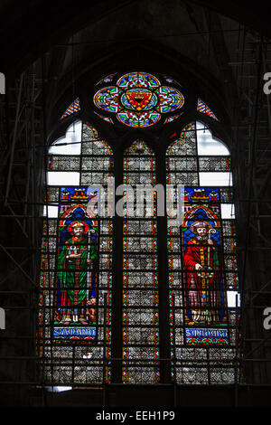 Stained glass window in cathedral of Notre Dame de Tournai