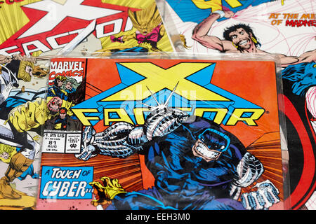 collection of old marvel comics including x-factor - Stock Photo