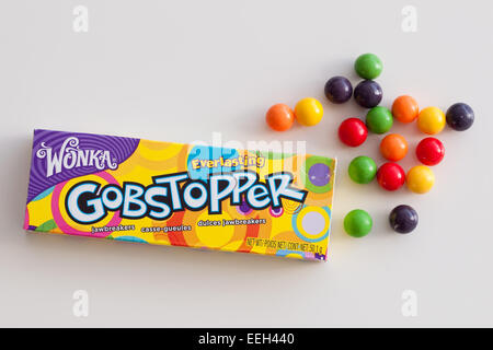 A box of Everlasting Gobstopper hard candy.  Manufactured by the Willy Wonka Candy Company, a  Nestlé brand. - Stock Photo