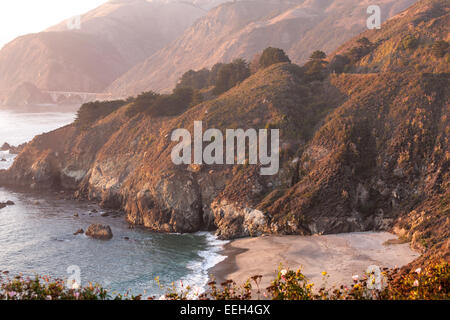 Big Sur Coastline with China Basin Beach and Big Creek Bridge south of Big Sur California. View from Gamboa Point, - Stock Photo