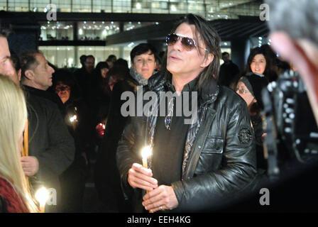 Athens, Greece. 18th Jan, 2015. Mayor of Marathon region of Athens Ilias Psinakis takes part in the vigil. Greeks - Stock Photo
