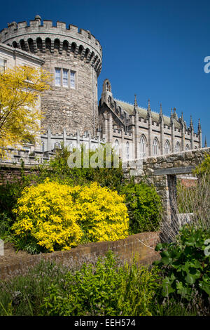 Sunny day in the gardens below Dublin Castle, Dublin, Eire, Republic of Ireland - Stock Photo