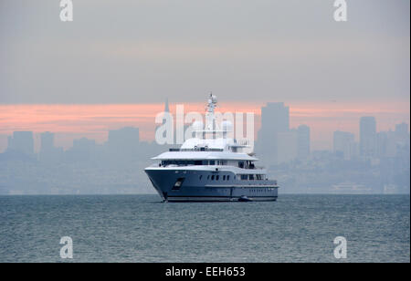super yacht anchored off Sausalito in San Francisco BAY - Stock Photo