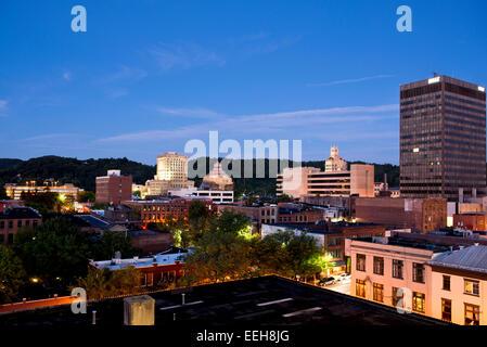 Asheville North Carolina Downtown Skyline at twilight - Stock Photo