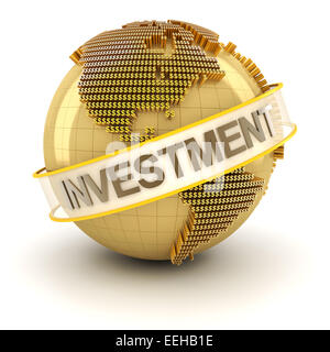Golden globe with investment text - Stock Photo