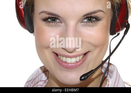 Attraktiv, beautiful, blond, business, Dienstleistungen, Erwachsen, Frau, Headphone, Headset, Kontaktperson, Kundenberatung, - Stock Photo