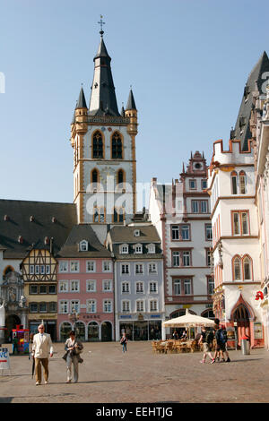 St Gangolf church on Market Square in Trier, Germany - Stock Photo