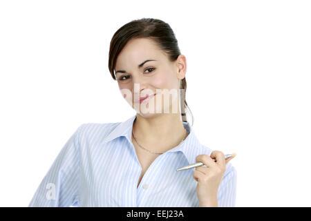 abwaegen, abwarten, aufmerksam, ausbildung, auszubildende, beraterin, beruf, besprechung, bewerben, bewerbung, bluse, - Stock Photo