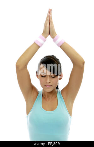 Frau Jung Yogauebung Innen Yoga Meditieren Meditation Gesundheit Wellness Entspannung Erholung Entspannen Erholen - Stock Photo