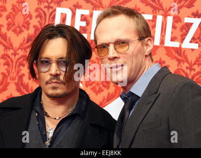 Berlin, Germany. 18th Jan, 2015. US actor Johnny Depp (L) and British actor Paul Bettany arrive for the premiere - Stock Photo