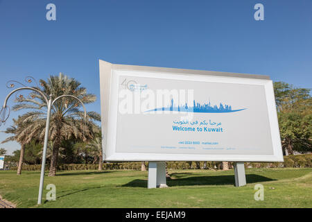 Welcome to Kuwait sign outside of the Kuwait International Airport. December 12, 2014 in Kuwait City, Middle East - Stock Photo