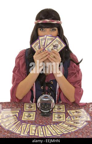 Wahrsagerin, Kugel, Spiritismus, Okkultismus, wahrsagen, Hellseherin, hellsehen, meditieren, Meditation, Astrologie, - Stock Photo