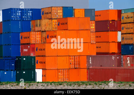 Netherland, Rotterdam, Harbour, Container - Stock Photo