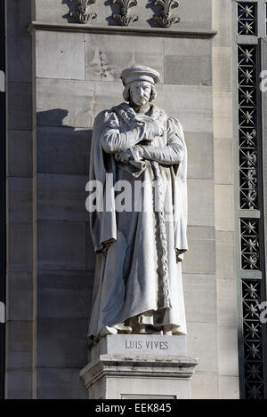 Monument to Luis Vives, National Library of Spain, Paseo de Recoletos, Madrid, Spain, Europe - Stock Photo