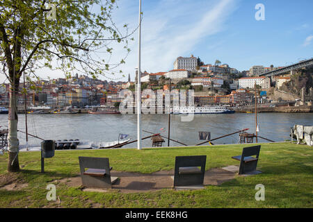City of Porto in Portugal skyline, view from the Vila Nova de Gaia shore of the Douro river. - Stock Photo