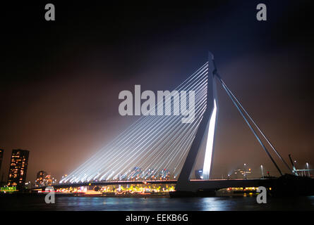 The Erasmus Bridge by night in Rotterdam, The Netherlands - Stock Photo